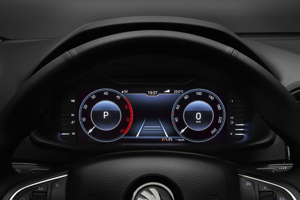 skoda shows off karoq 39 s audi style virtual cockpit. Black Bedroom Furniture Sets. Home Design Ideas