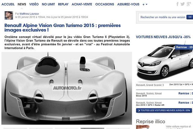 Leaked Renault Alpine Vision Gran Turismo Concept Motoring